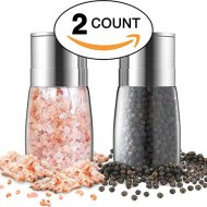 Salt and Pepper Grinder Set – Premium Stainless Steel Manual Mills – Adjustable Coarseness, Brushed & Elegant – Best Glass Shakers, Containers and Dispenser – Refillable Holder & Organizer Combo Gift