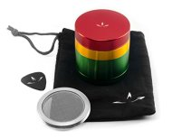 4 Piece Aluminum Herb Grinder with Removable Screen (2.2 Inch, Rasta)