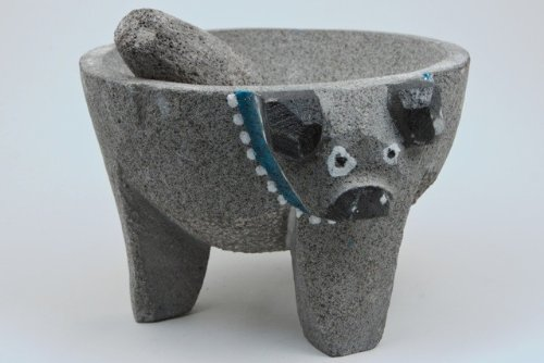 Molcajete Pig Head Mortar – Stone Bowl and Pestle