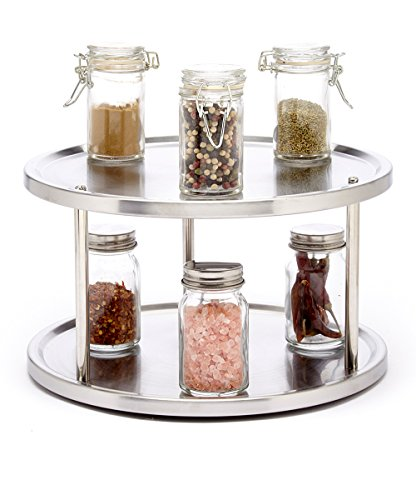 Saganizer 2 Tier lazy susan turntable 360-degree lazy susan organizer use for a spice organizer or kitchen cabinet organizers stain-resistant