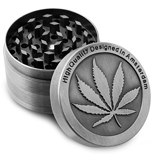 Formax420 Zinc Alloy Herb Grinder Cannabis Leaf Designed on Top Part 50 mm 4 Pieces