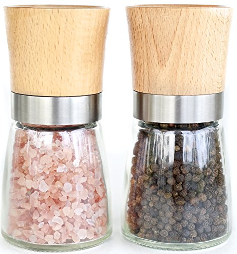Wood & Glass Salt and Pepper Grinder Set – Salt & Pepper Mill Pair with Adjustable Coarseness – Wood Salt and Pepper Shakers
