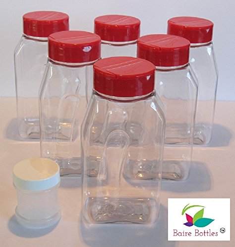 16 oz Clear Plastic Spice Bottle with Lined Red Caps – 6 Pack (BONUS 1oz Spice Jar)