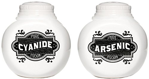 Sourpuss Arsenic and Cyanide Salt and Pepper Shakers White
