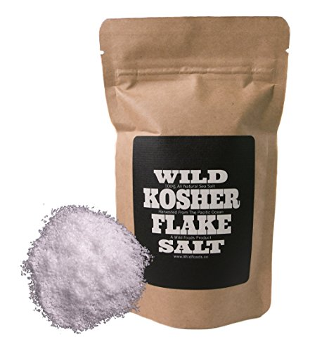 Kosher Flake Sea Salt by Wild Foods, Unrefined, 100% natural, Pacific Ocean Harvested Sea Salt for Cooking, Marinating, Brining, Finishing Healthy Recipes (4 ounce)