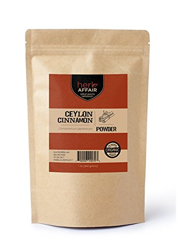 "Herb Affair Organic Ceylon Cinnamon Powder (Freshly Ground) – 1 Pound Bulk Package – Also Referred to As ""True Cinnamon"" or ""Real Cinnamon"""