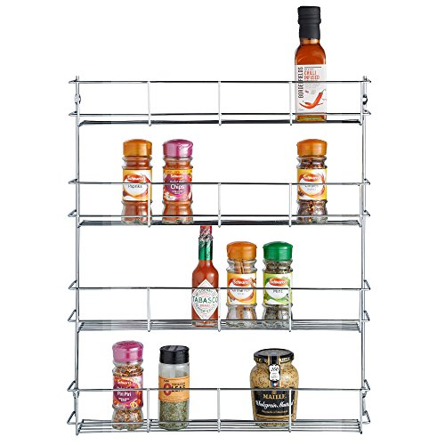 VonShef 4 Tier Spice Rack Chrome Plated (Easy Fix) For Herbs and Spices Suitable for Wall Mount or Inside Cupboard