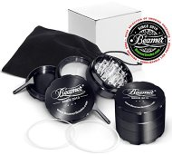 Black Beamer Smoke 62mm 4 Piece Aircraft Grade Aluminum Grinder / Spice Mill w/ Catcher & Neodymium Magnet + 2 O Rings + 2 Scrapers + Travel Bag. For Tobacco, Coffee, Herbs, Spices + Beamer Sticker