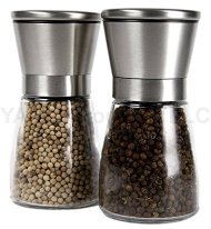 YAMO Brushed Stainless Steel Salt & Pepper Mill Set with Glass Bottle – Salt and Pepper Grinder Set with Adjustable Ceramic Grinding Mechanism