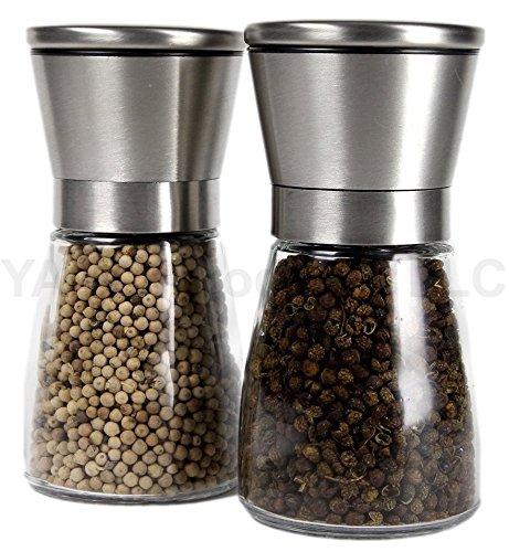 YAMO Brushed Stainless Steel Salt & Pepper Mill Set with Glass Bottle – Salt and Pepper Grinder Set with Adjustable Ceramic Grinding Mechanism