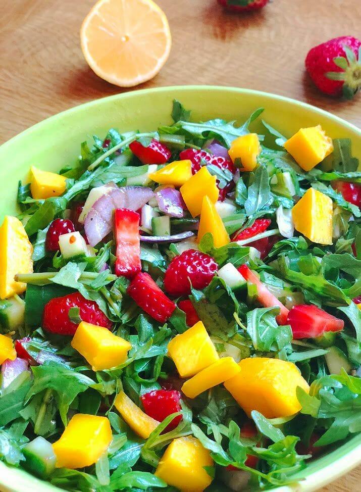 Easy Summer Salad recipe with strawberries, arugula and mango