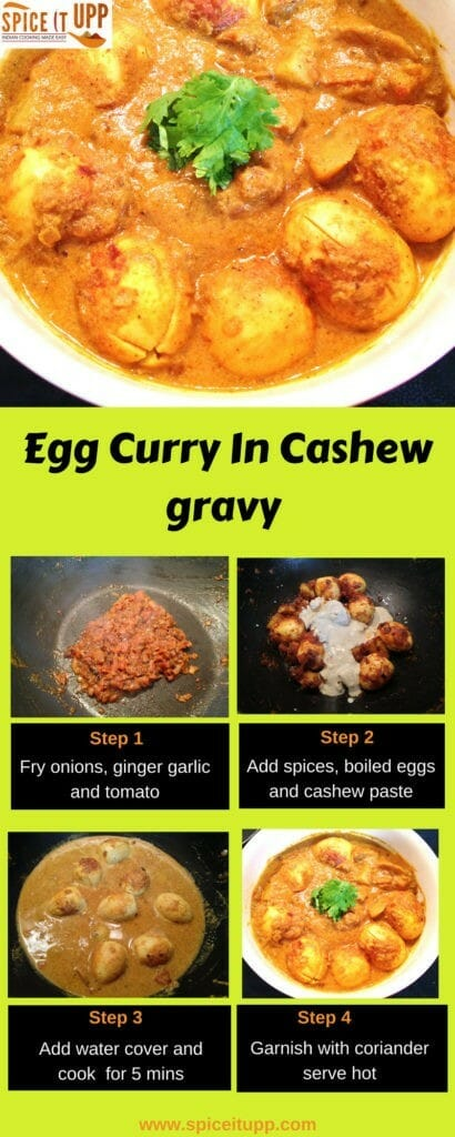 Egg Curry Recipe in Cashew gravy pinterest image