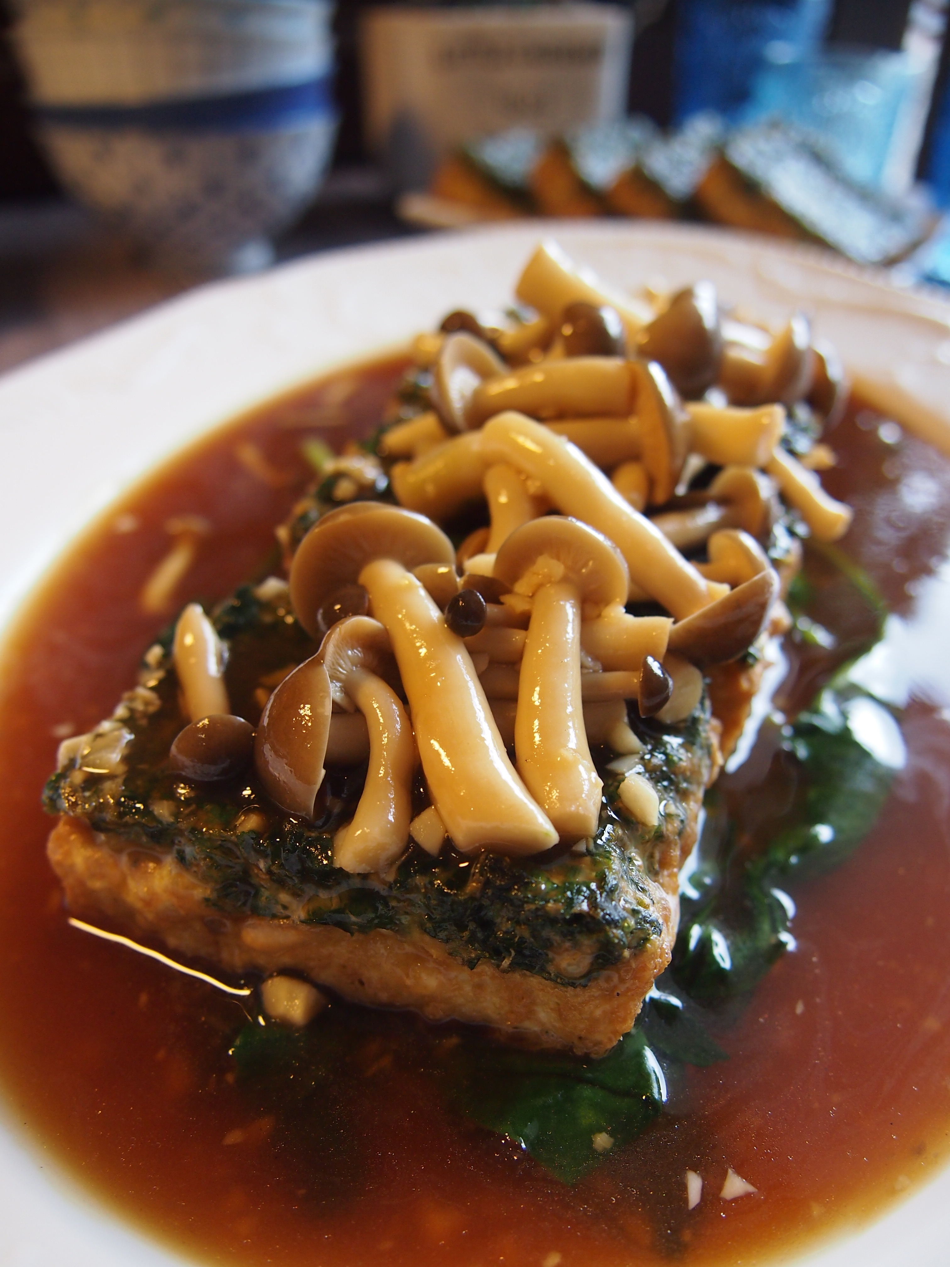 Surprisingly Easy Homemade Spinach Tofu with Shimeiji Mushrooms