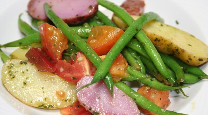 Summer Salad of Fingerlings, Heirloom Tomatoes and String Beans