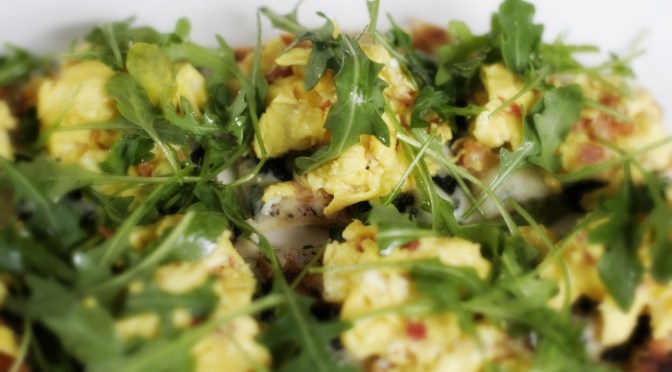 Truffled Eggs with Pancetta, Arugula and Fontina Flatbread