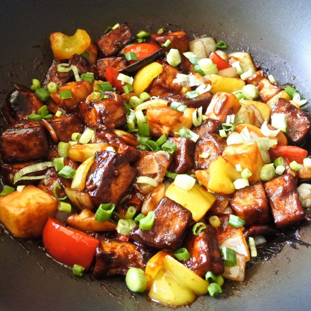sweet and sour tofu simmered in sauce