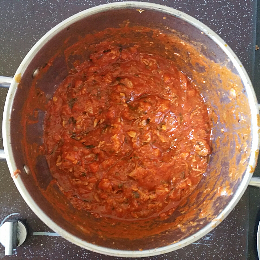 finished pork ragu after 2-3 hours of slow cooking