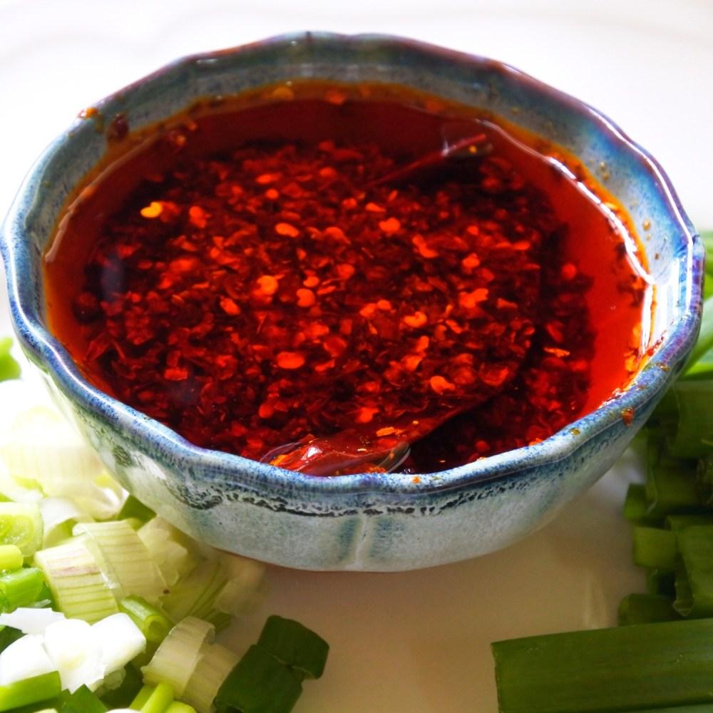 Chinese chile oil (la jiao) with chopped scallions