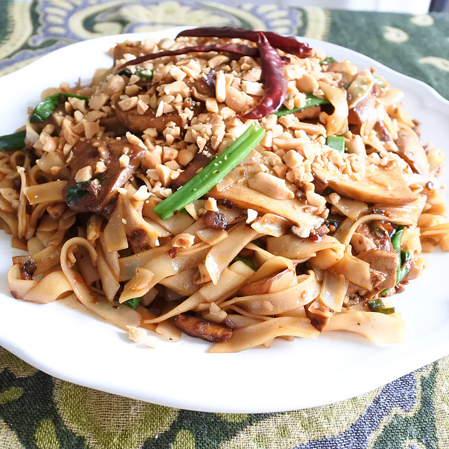 Vegan soy and chili rice noodles