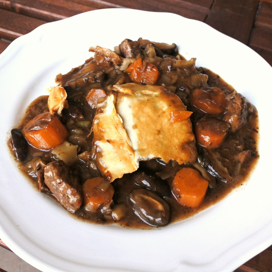 steak and ale pie in bowl