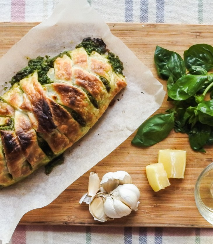 Salmon en croute, garlic, basil leaves, lemon and wine