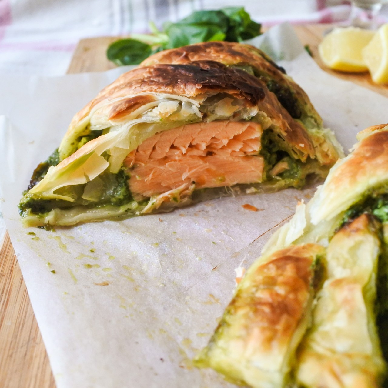 cross section of Salmon en Croute