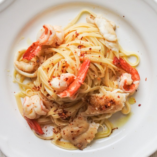 Linguine tossed with fresh seafood