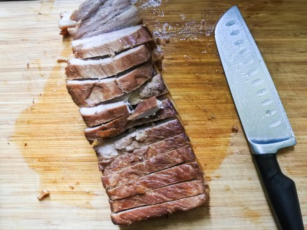 Tip: If you are having difficult cutting into the crispy skin, simply flip in over and cut upside down, first through the meat then the skin.