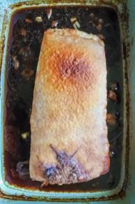 pork belly browned under broiler