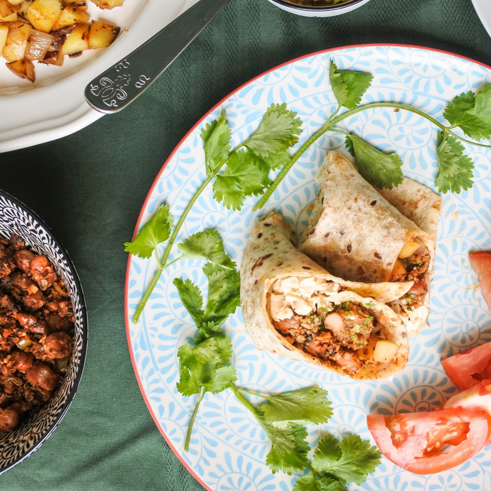 Vegan Breakfast Burritos with sides