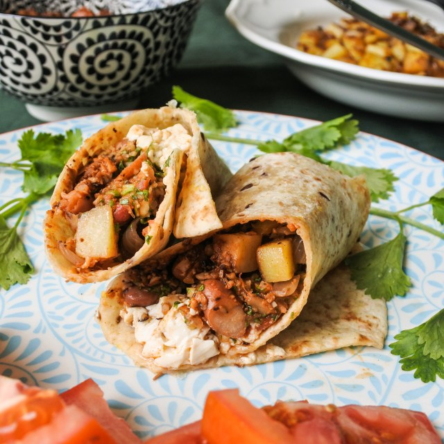 Vegan Breakfast Burritos with cilantro and tomatoes