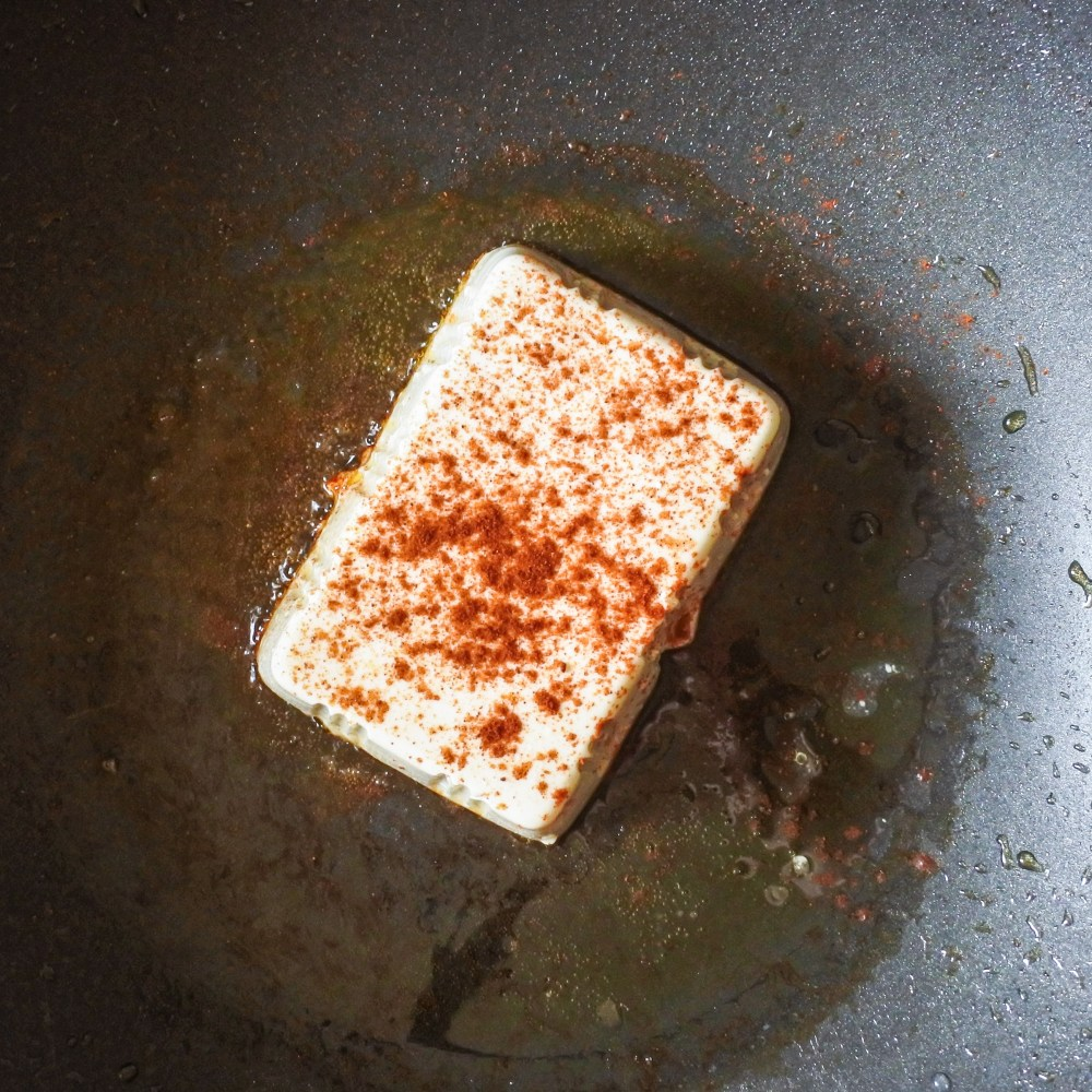 silken tofu and paprika in pan