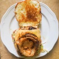 onion rings on armadillo burger