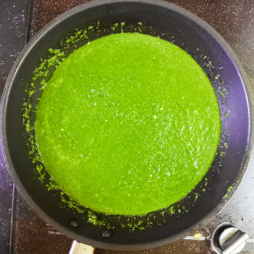 cilantro and green chile sauce in pan