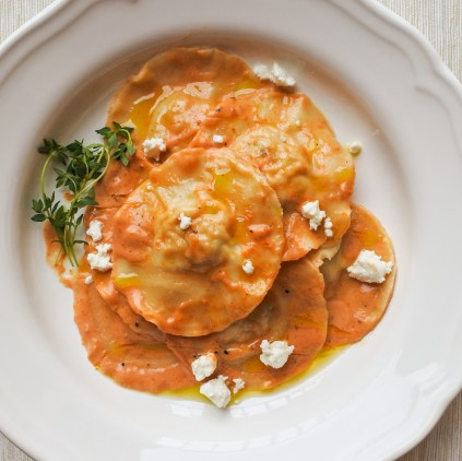 Chicken Ravioli tossed in a sun dried tomato cream sauce