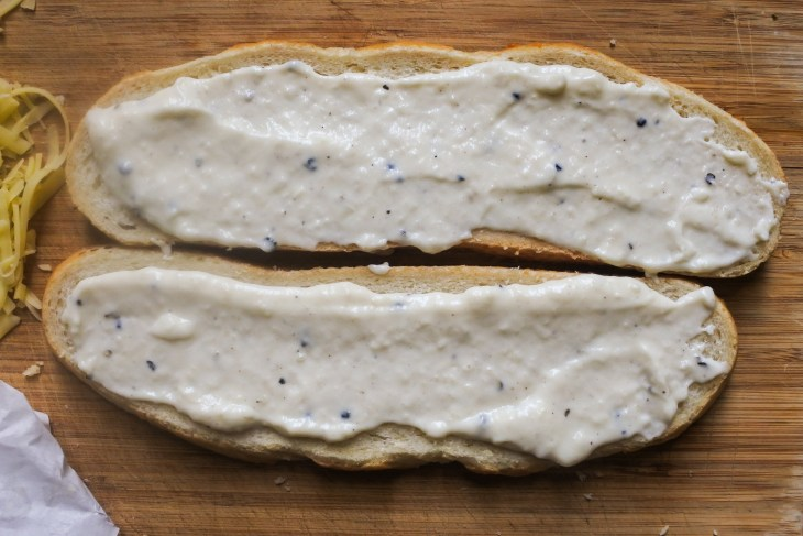 sliced bread coated with Bechamel sauce