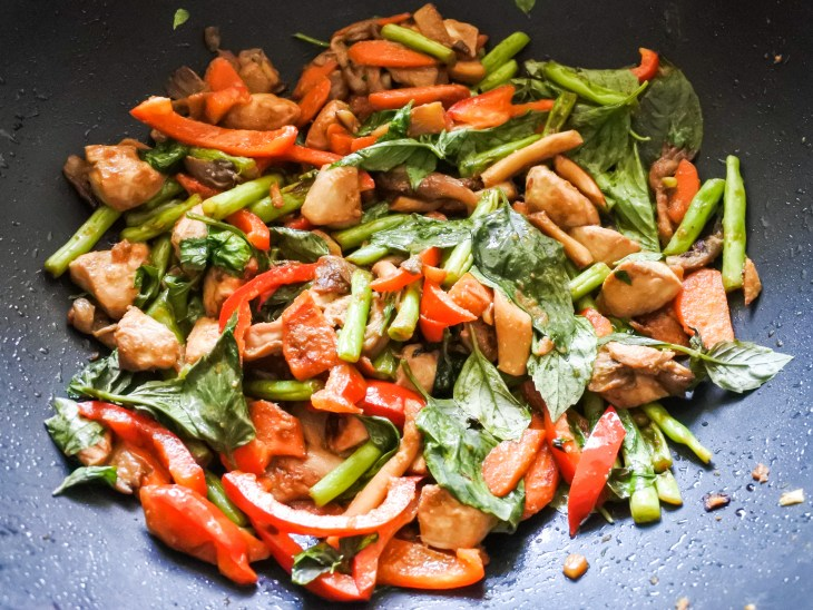 cooked lemongrass and chicken stir fry