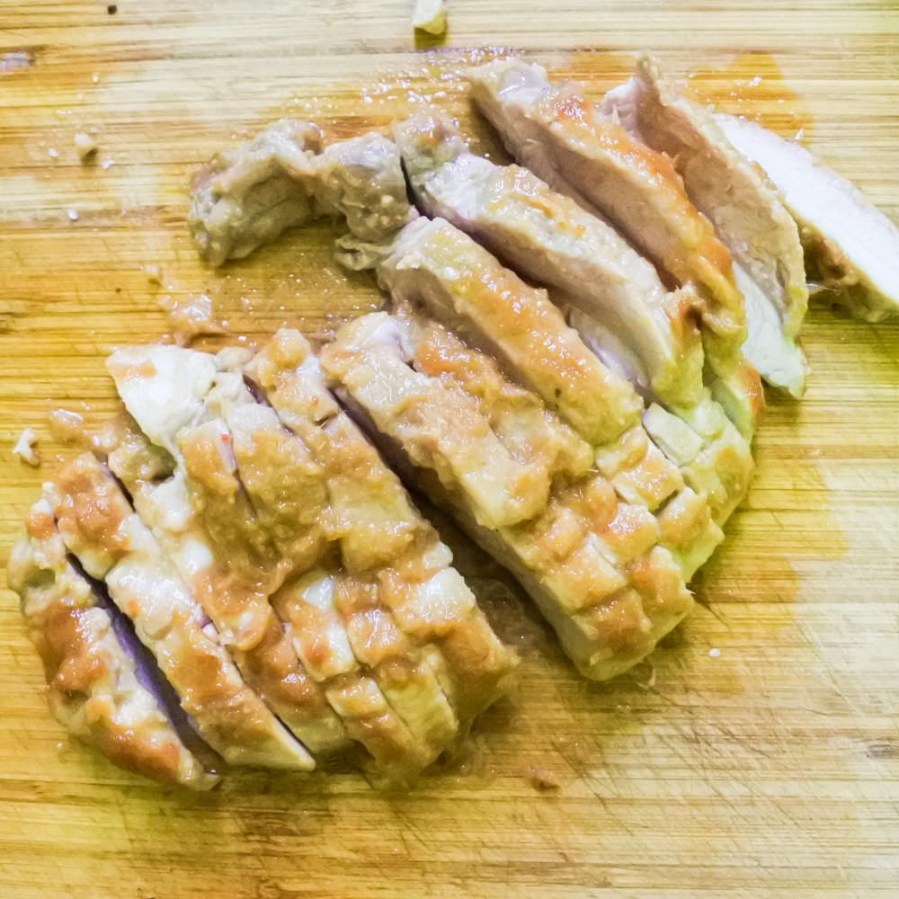 pork cut up into slices