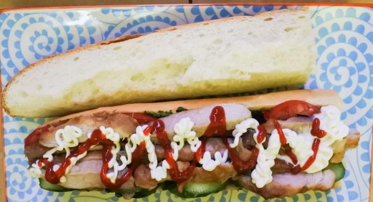 mayonnaise and sriracha on pork sandwich