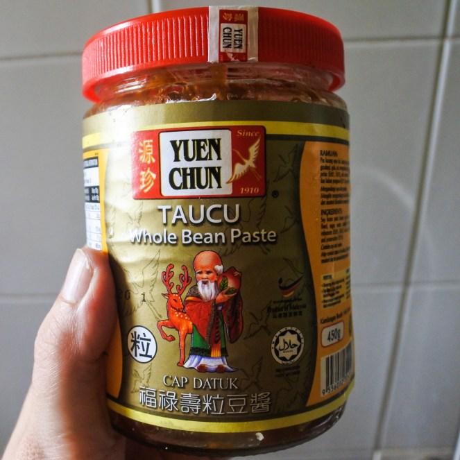 a jar of yellow soybean paste
