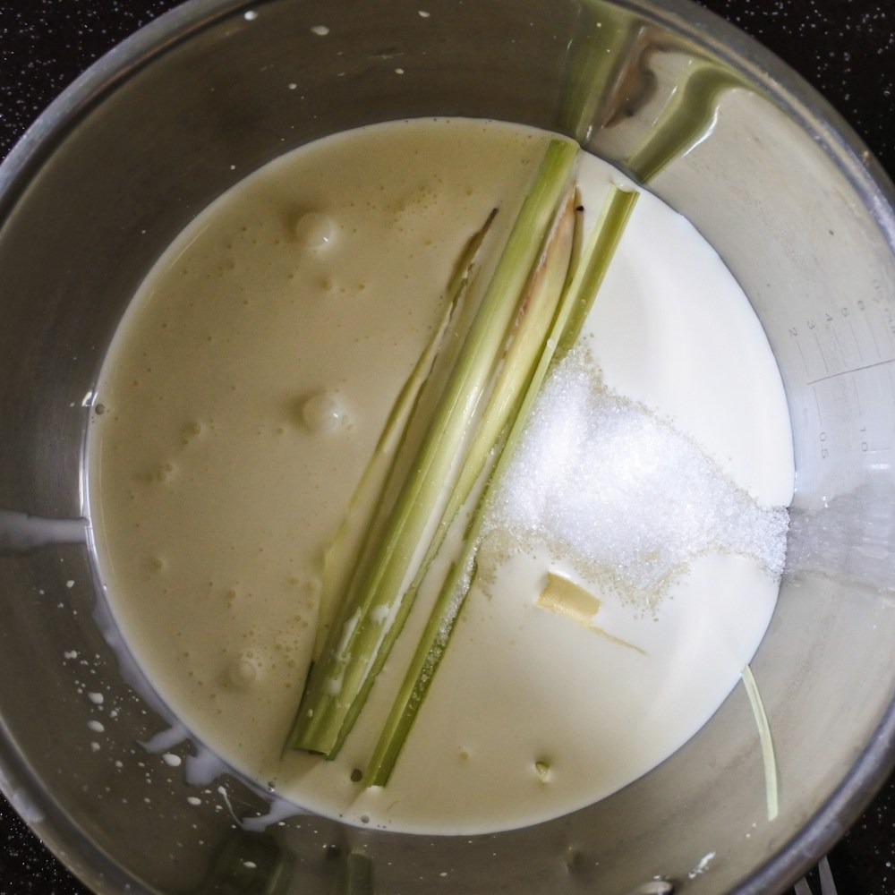 lemongrass, sugar and cream coking in a saucepan