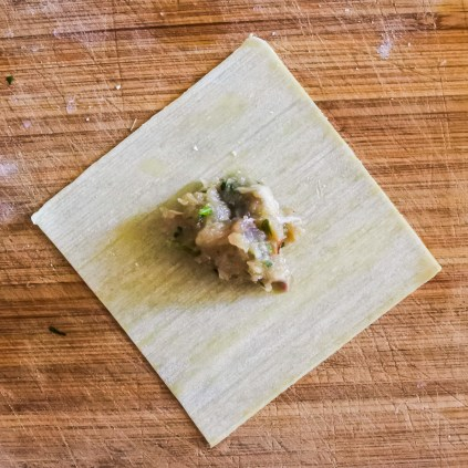 Add a teaspoon amount of filling to the center of the wonton wrapper.