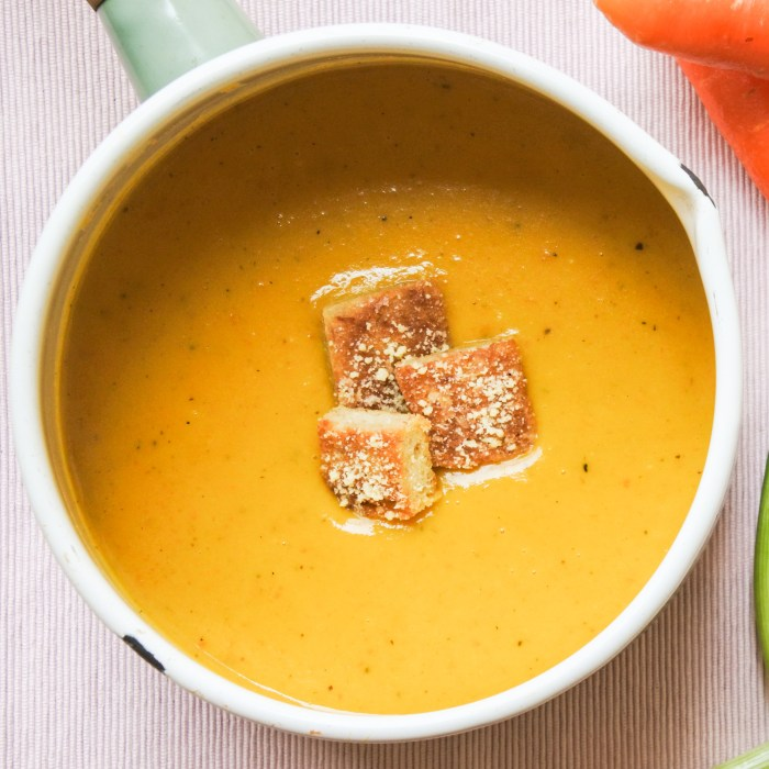 Carrot and Leek Soup with croutons