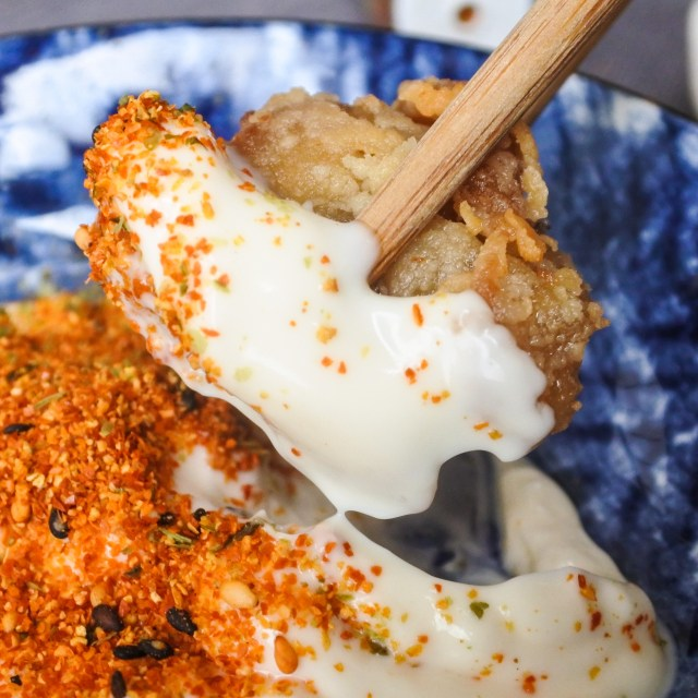 Karaage Chicken dipped in mayonnaise and shichimi togarashi powder