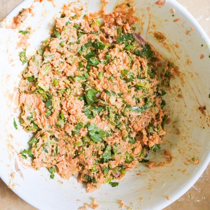 salmon cake mixture after mixing