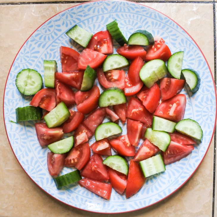 Chopped tomatoes and cucumbers