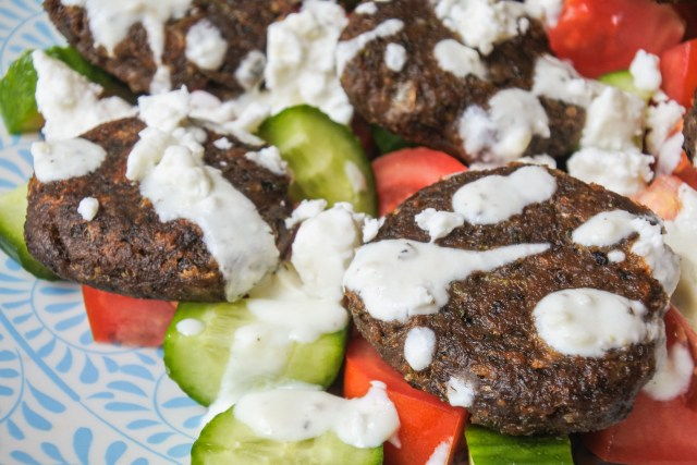Lentil Cakes with Cucumber and Tomato Salad 5