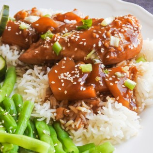 Chicken and pineapple in a soy glaze over jasmine rice with sesame green beans