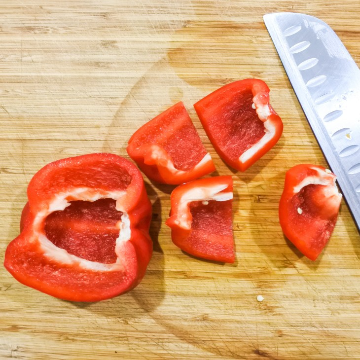raw red bell pepper chopped up