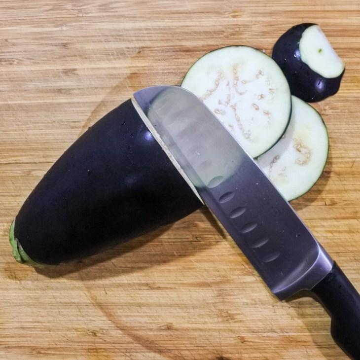 Long eggplant sliced up